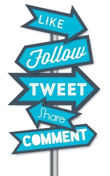 Panneaux de direction like, follow, tweet, share, comment