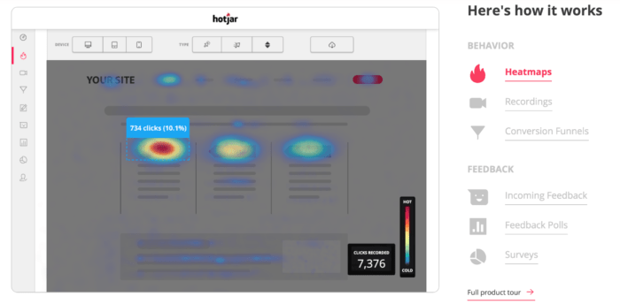 Hotjar-heatmap-interface